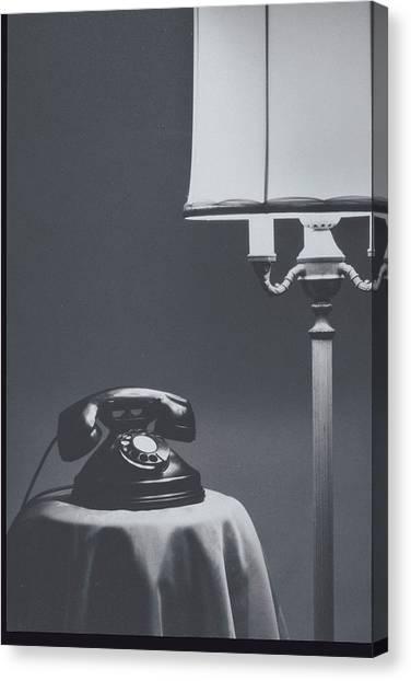 Still Life Of Black Telephone & Lamp Canvas Print