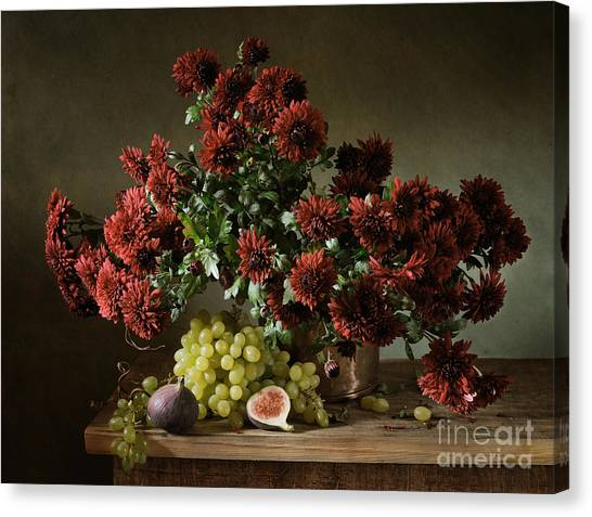Vase Of Flowers Canvas Print - Still Life With A Bunch Of by Irina Mosina