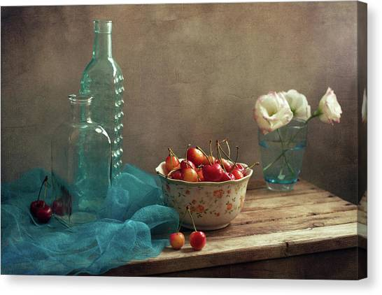 Vase Of Flowers Canvas Print - Still Life With Cherries And Blue by Copyright Anna Nemoy(xaomena)