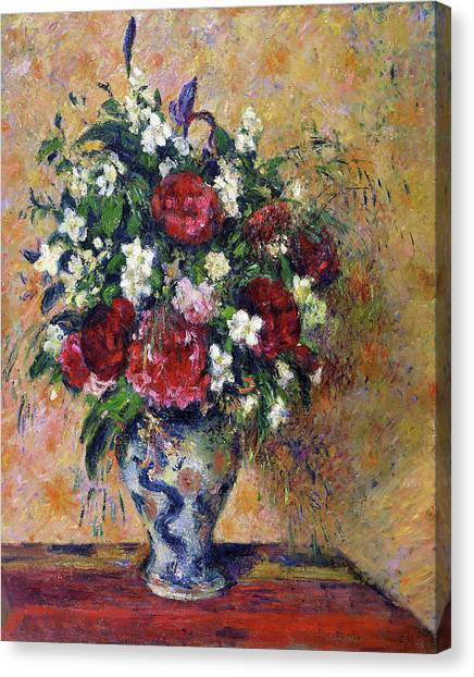 Camille Canvas Print - Still Life With Peonies And Mock Orange - Digital Remastered Edition by Camille Pissarro