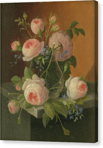 Still Life With Roses, Circa 1860 Canvas Print