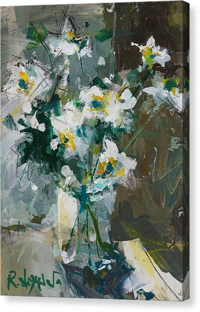 Still Life With White Anemones Canvas Print