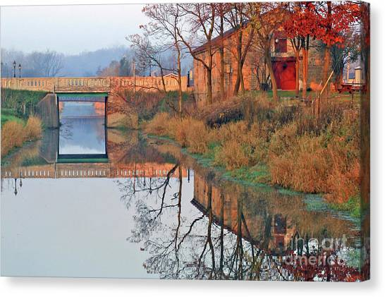 Still Waters On The Canal Canvas Print