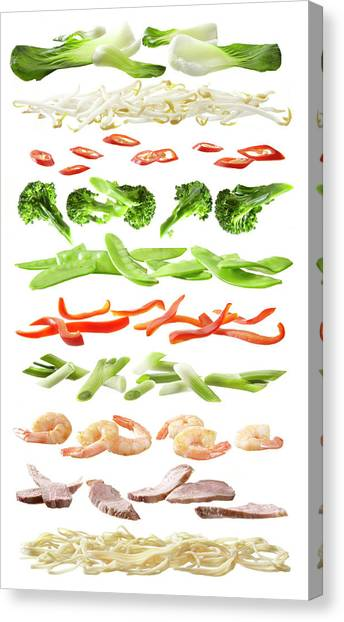 Stirfry Ingredients Separated Into Canvas Print by Johanna Parkin