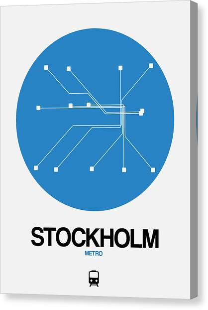 Sweden Canvas Print - Stockholm Blue Subway Map by Naxart Studio