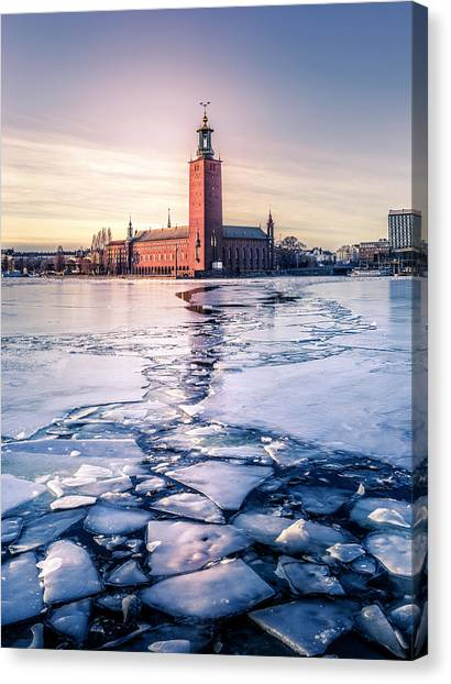 Sweden Canvas Print - Stockholm City Hall In Winter by Nicklas Gustafsson