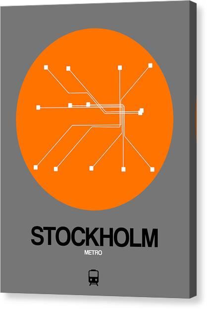 Sweden Canvas Print - Stockholm Orange Subway Map by Naxart Studio