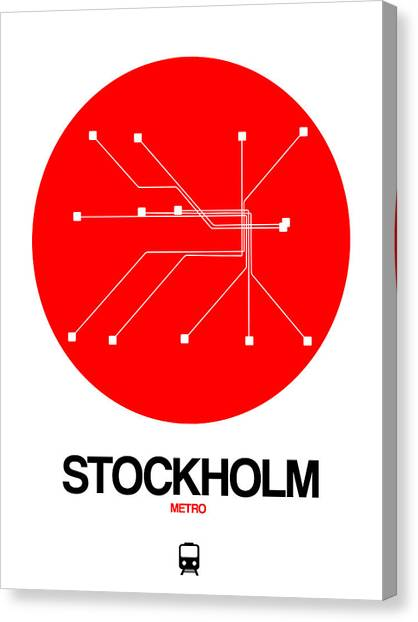 Sweden Canvas Print - Stockholm Red Subway Map by Naxart Studio