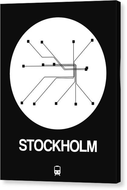 Sweden Canvas Print - Stockholm White Subway Map by Naxart Studio