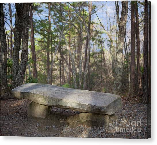Canvas Print featuring the photograph Stone Bench by Patrick M Lynch