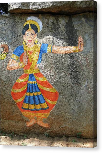 Stone Painting Of Nautch Dancing Gir Canvas Print
