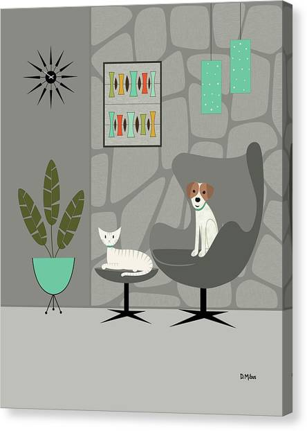Stone Wall With Dog And Cat Canvas Print