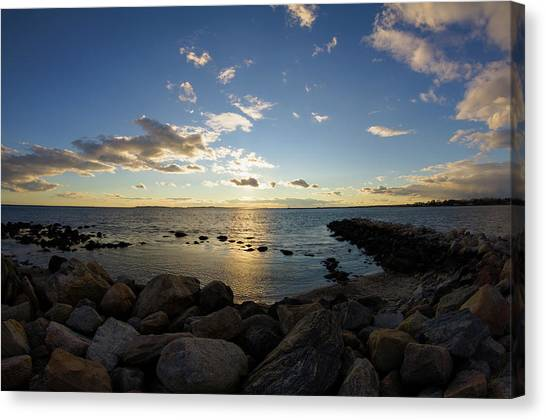 Stonington Point On The Rocks - Stonington Ct Canvas Print
