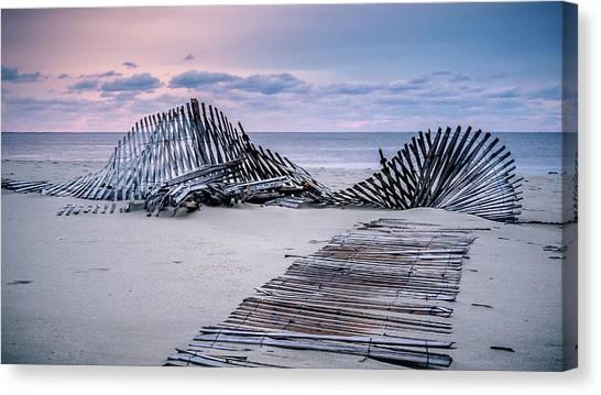 Storm Fence Sunrise Canvas Print