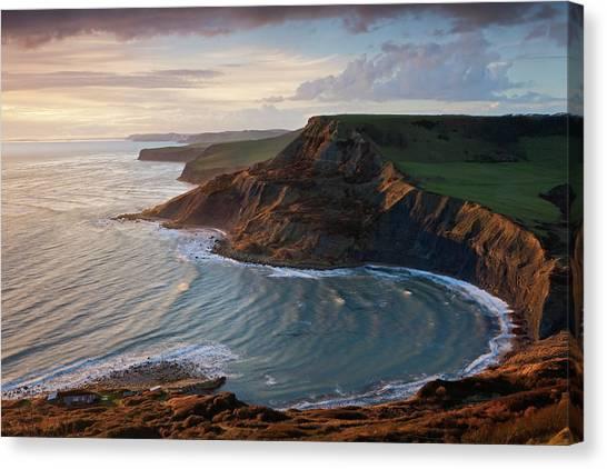 Cliff Burton Canvas Print - Storm Light Illuminates Chapmans Pool by Adam Burton / Robertharding