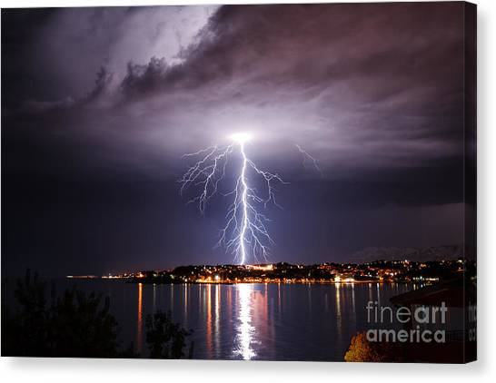 Flash Canvas Print - Storm On The Coast Of Adriatic, Croatia by Janjar