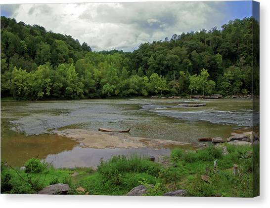 Canvas Print featuring the photograph Stormy Evening At The River by Angela Murdock