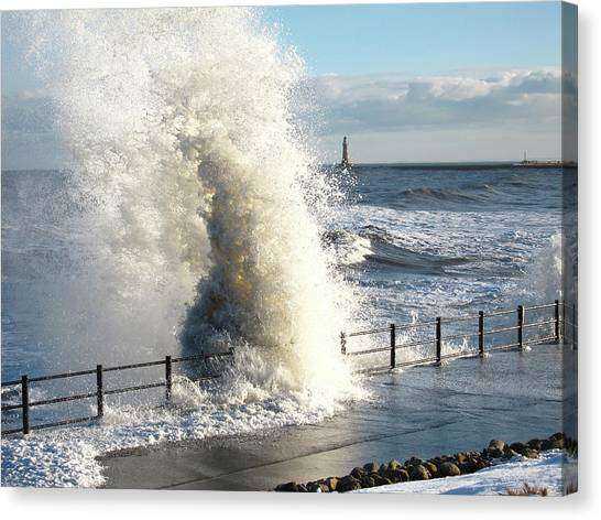 Sunderland Canvas Print - Stormy Sea And Breaking Wave by Peter Mulligan
