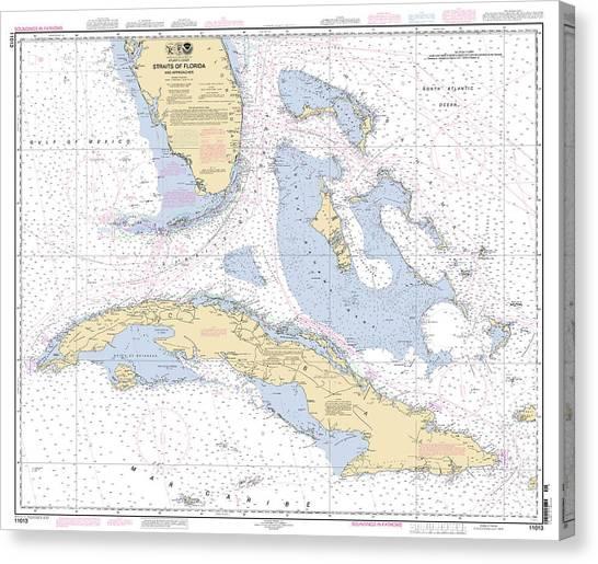 Straits Of Florida Nautical Chart Canvas Print