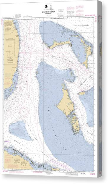 Straits Of Florids, Eastern Part Noaa Chart 4149 Edited. Canvas Print
