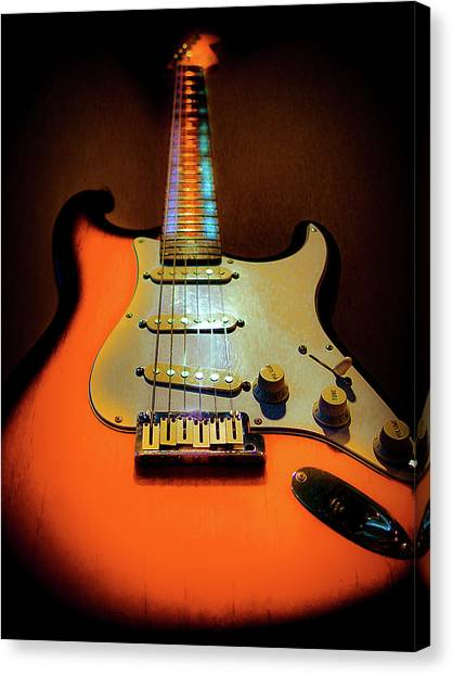Stratocaster Triburst Glow Neck Series Canvas Print