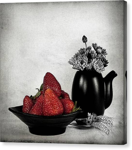 Vase Of Flowers Canvas Print - Strawberries In Bowl by Rebeca Mello