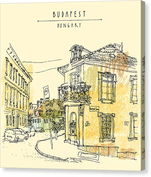 Famous Places Canvas Print - Street Corner In Budapest City by Babayuka