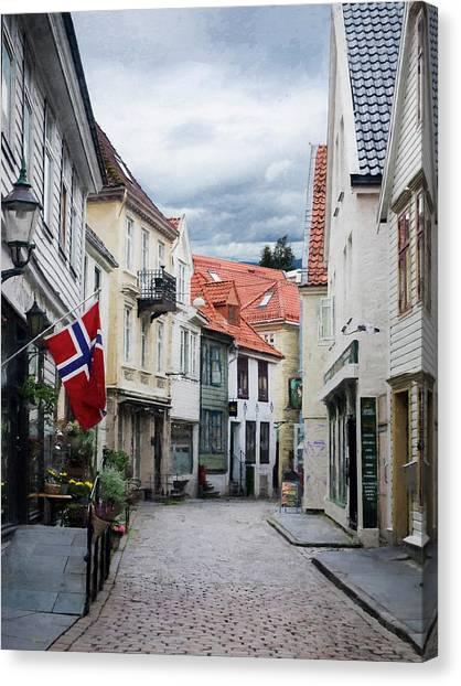 Street In Bergen, Norway Canvas Print