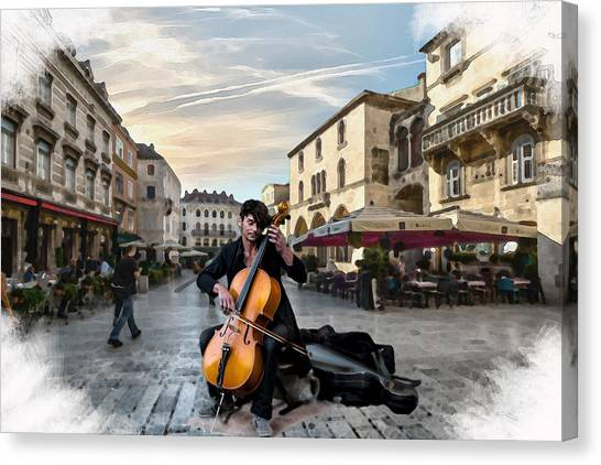 Street Music. Cello. Canvas Print