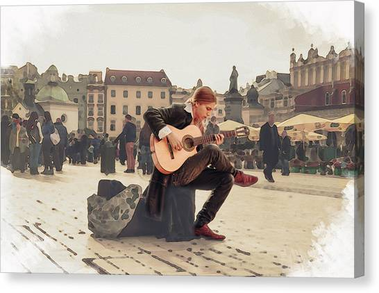 Street Music. Guitar. Canvas Print