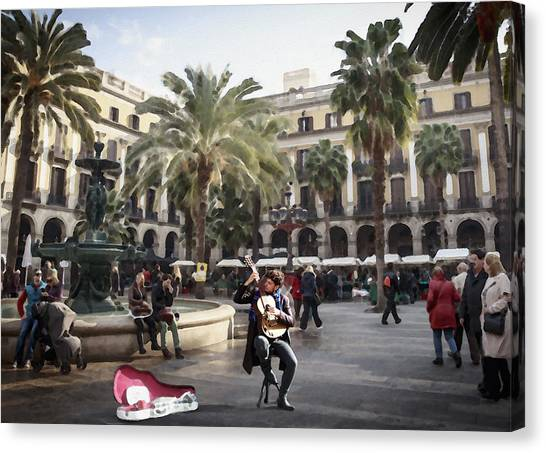 Street Music. Guitar. Barcelona, Plaza Real. Canvas Print
