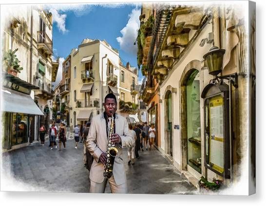 Street Music. Saxophone. Canvas Print