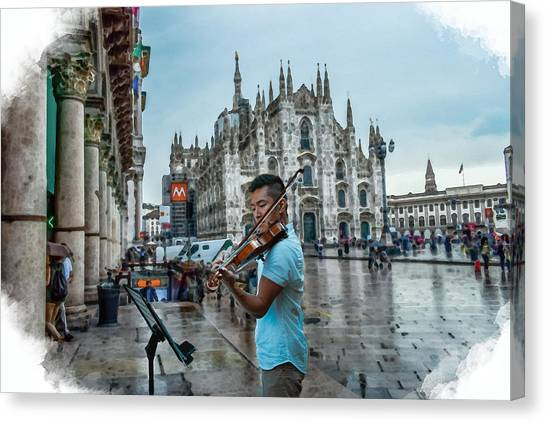 Street Music. Violin. Canvas Print