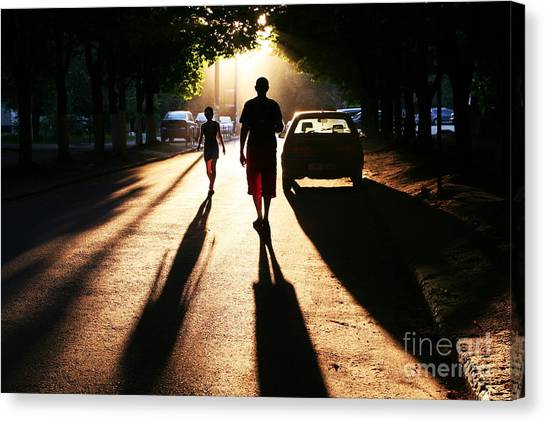 Contour Canvas Print - Street Scene On Sunset by Galyna Andrushko