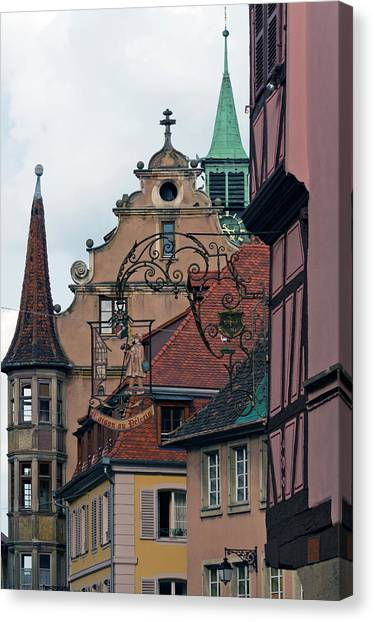 Street With Church Steeple Canvas Print by John Elk Iii