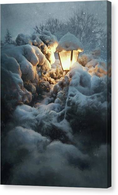 Street Lamp Canvas Print - Streetlamp In The Snow by Scott Norris