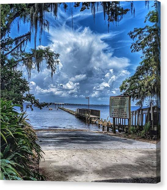 Strolling By The Dock Canvas Print