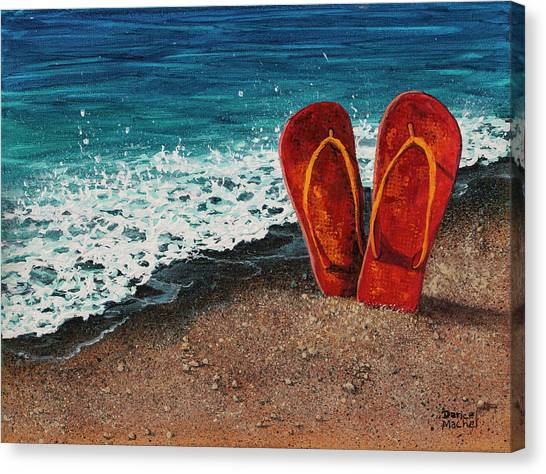 Canvas Print featuring the painting Stuck In The Sand by Darice Machel McGuire