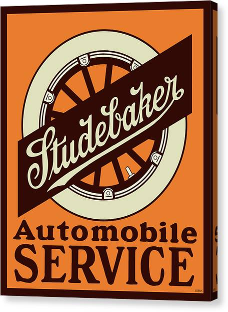 Automobile Canvas Print - Studebaker Auto Sign by Greg Joens