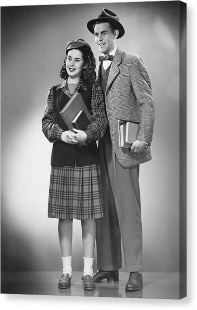 Student Couple Posing In Studio, B&w Canvas Print by George Marks