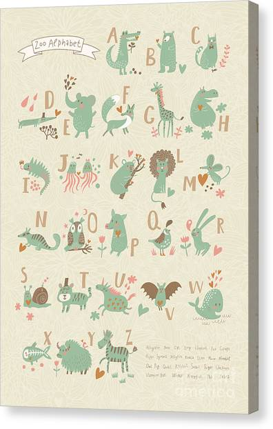 Stylish Zoo Alphabet In Vector. Lovely Canvas Print by Smilewithjul