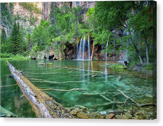 Canvas Print featuring the pastel Submerged Log, Hanging Lake Colorado by Nathan Bush