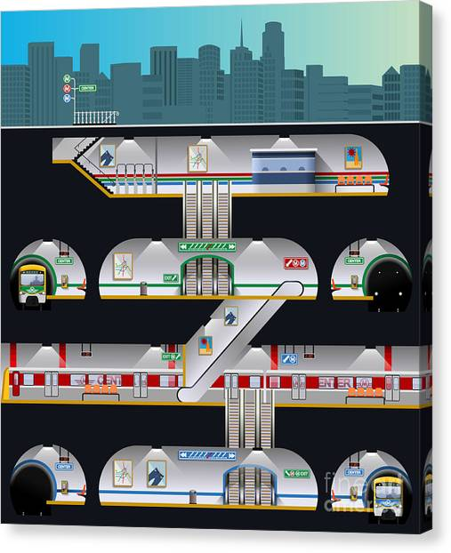 Urban Life Canvas Print - Subway Complex by Nikola Knezevic