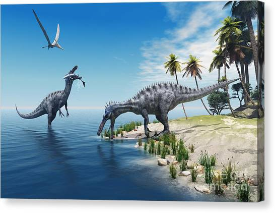 Powerful Canvas Print - Suchomimus Dinosaurs - A Large Fish Is by Catmando