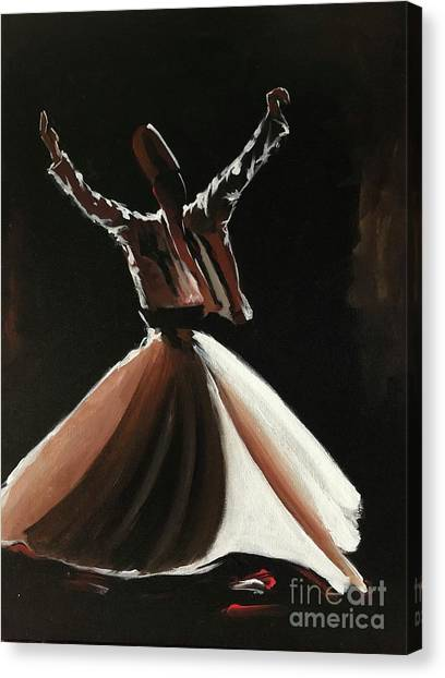 Canvas Print featuring the painting Sufi-s001 by Nizar MacNojia