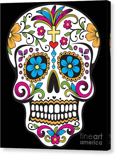 Canvas Print featuring the digital art Sugar Skull Day Of The Dead by Flippin Sweet Gear