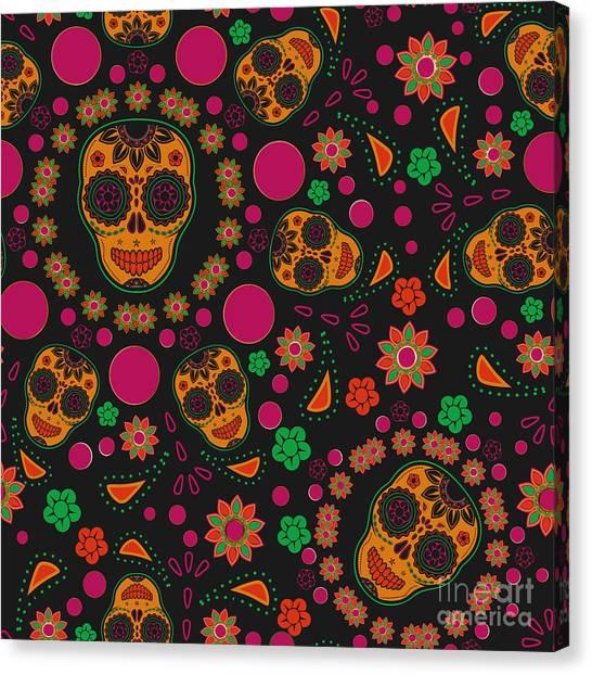 Mexico Canvas Print - Sugar Skull Seamless Pattern by Blackspring