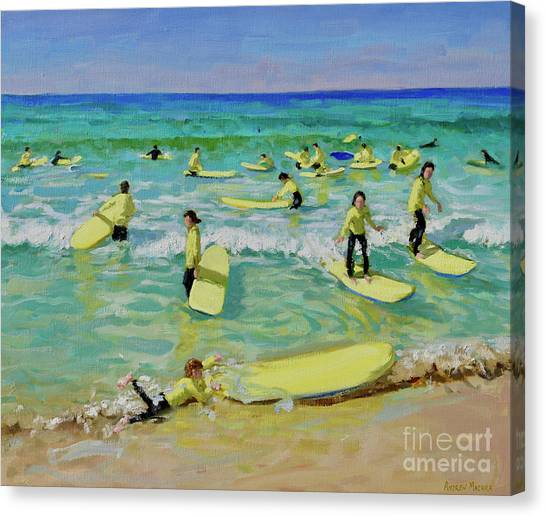 St Ives Canvas Print - Summer Surfing, St Ives by Andrew Macara