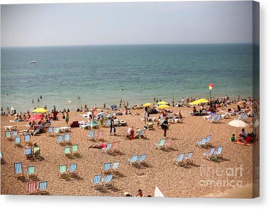 Sandy Beach Canvas Print - Summertime Beach Near Ocean Crowded by N K