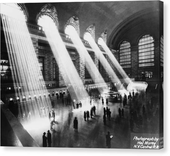Sun Beams Into Grand Central Station Canvas Print by Hal Morey